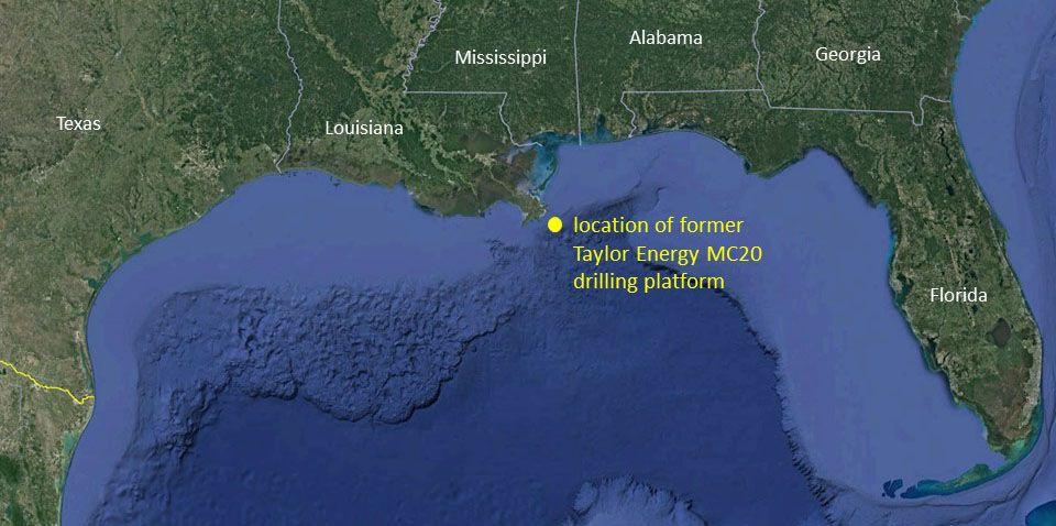 map of Taylor Energy oil spill off Louisiana coast