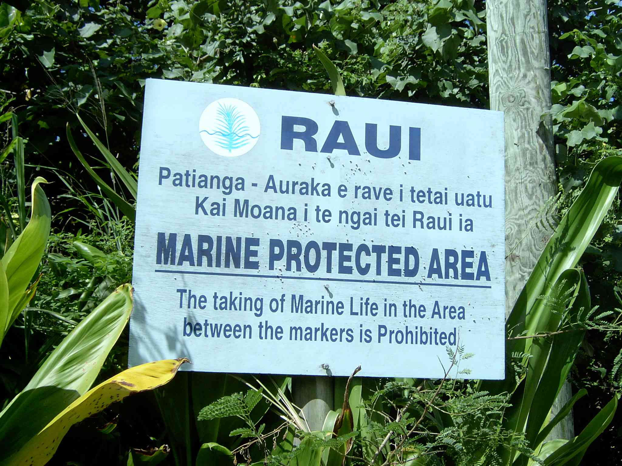 A sign marker for a marine protected area