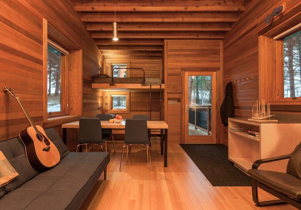Interior of AIA Housing Award-winning camper cabins at Whitewood Woods Regional Park, Dakota County, Minnesota