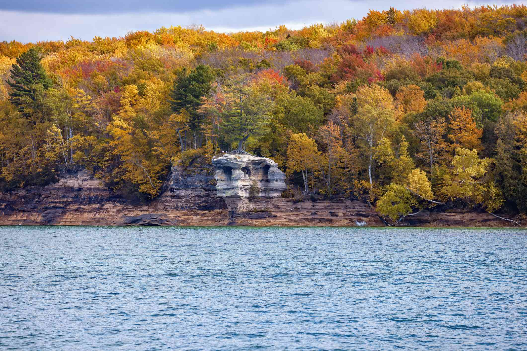 Lush forest of trees in gold, orange, red, and green autumn colors in Hiawatha National Forest along the Pictured Rocks National Seashore under a blue sky