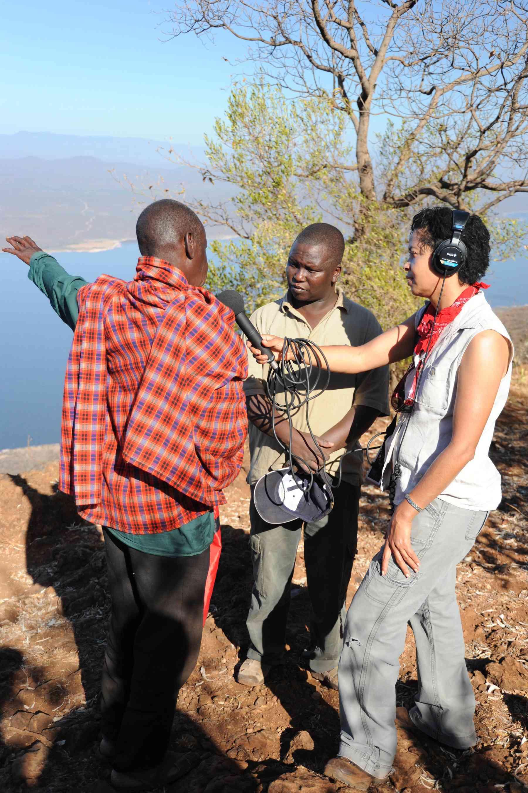 Paula Kahumbu interviews a local elder in Kenya