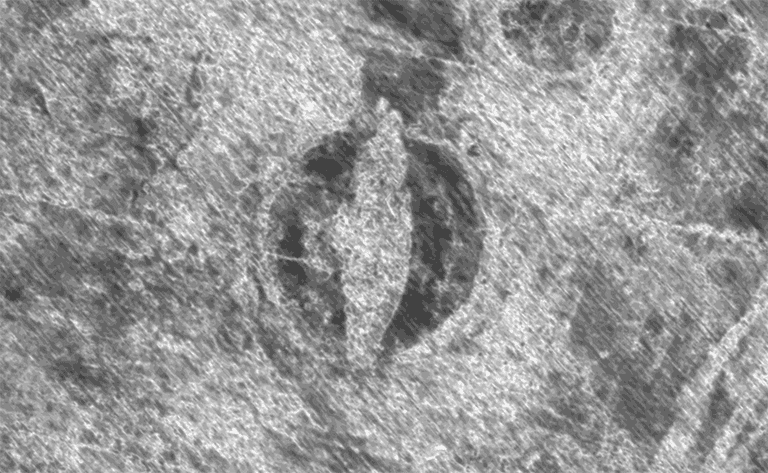 The outline of a Viking ship as captured using georadar. The vessel is located under only 50 cm of top soil.