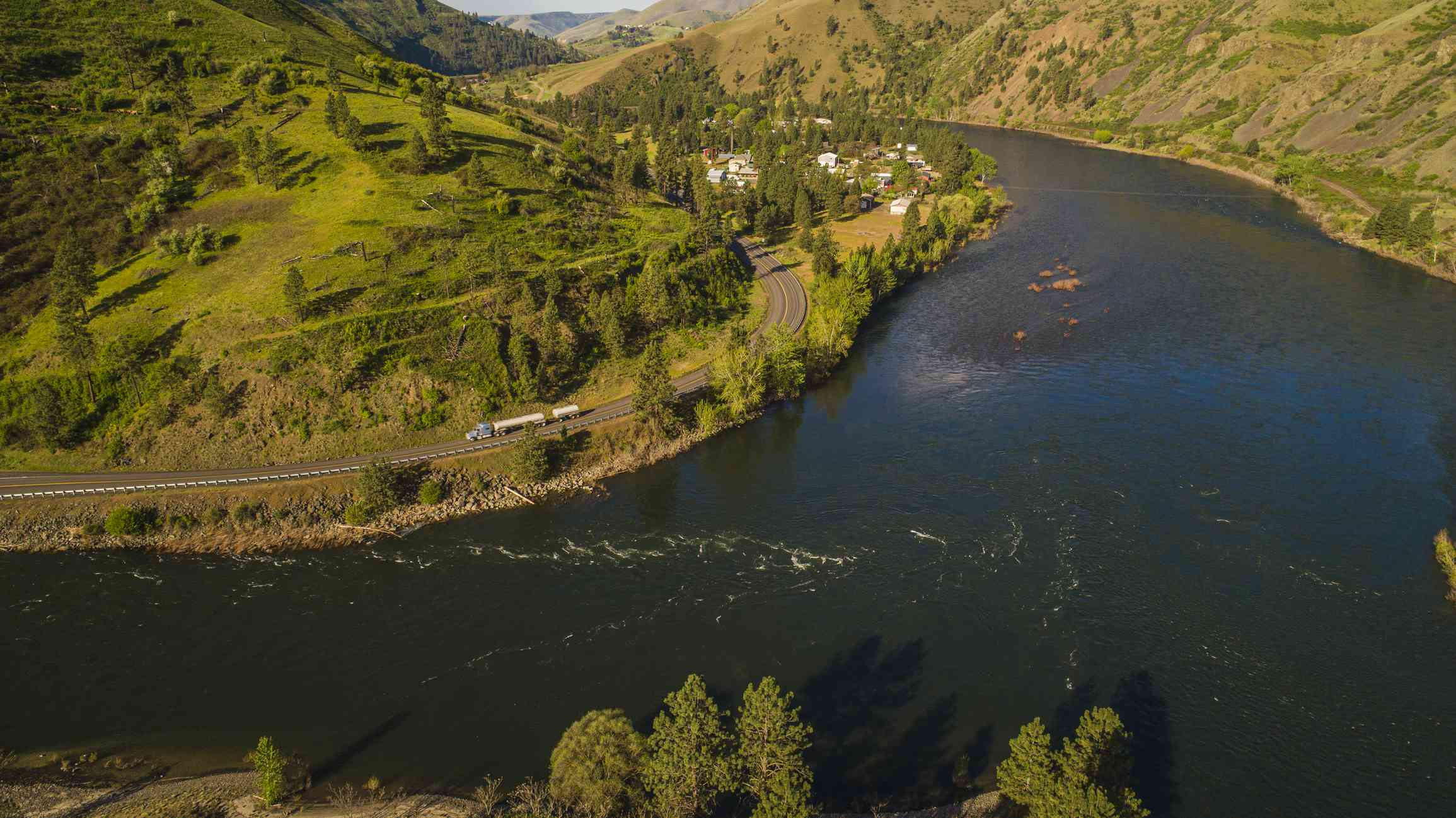 Highway 12 along the Clearwater River near Lonore, Idaho, USA