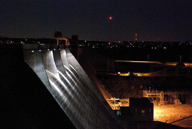 A night shot of Mansfield Dam near Austin, Texas