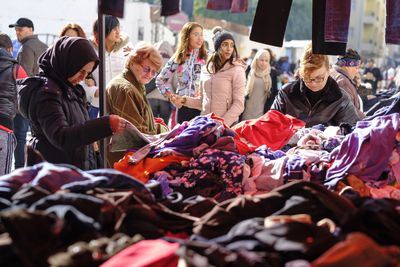 Secondhand clothing market in Tunis