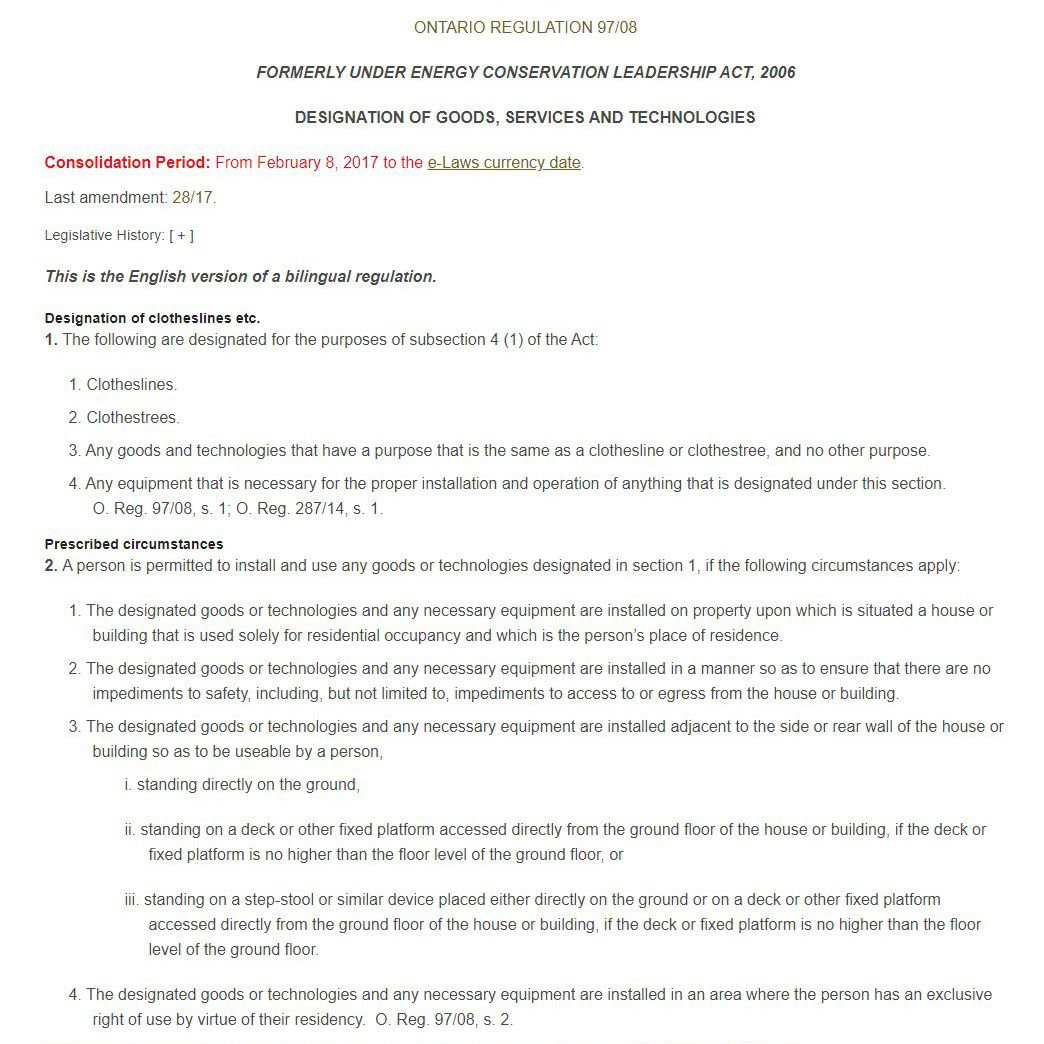 regulation on clotheslines
