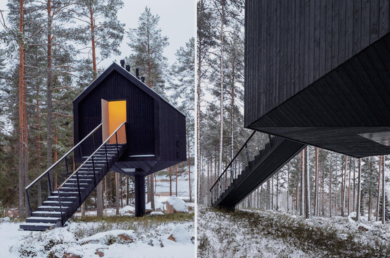 Niliaitta cabin by Studio Puisto stairway