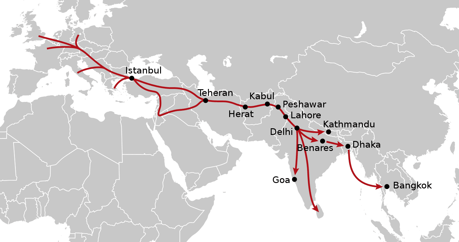 The various routes of the Hippie Trail.