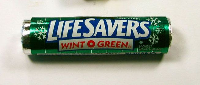 A roll of Wint-O-Green Life Savers