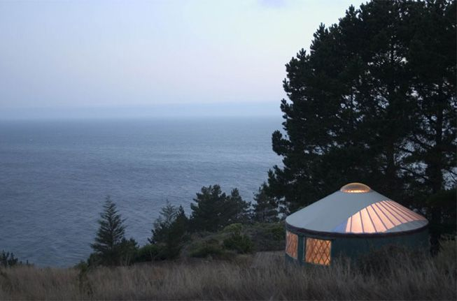 A yurt in Big Sur offers a view of the ocean