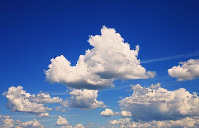 Cumulus clouds in a blue sky