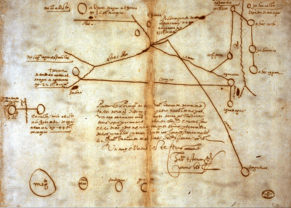 One of the maps detailing the location of the Native American city of Etzanoa (labelled in the top middle) from a 1602 drawing.