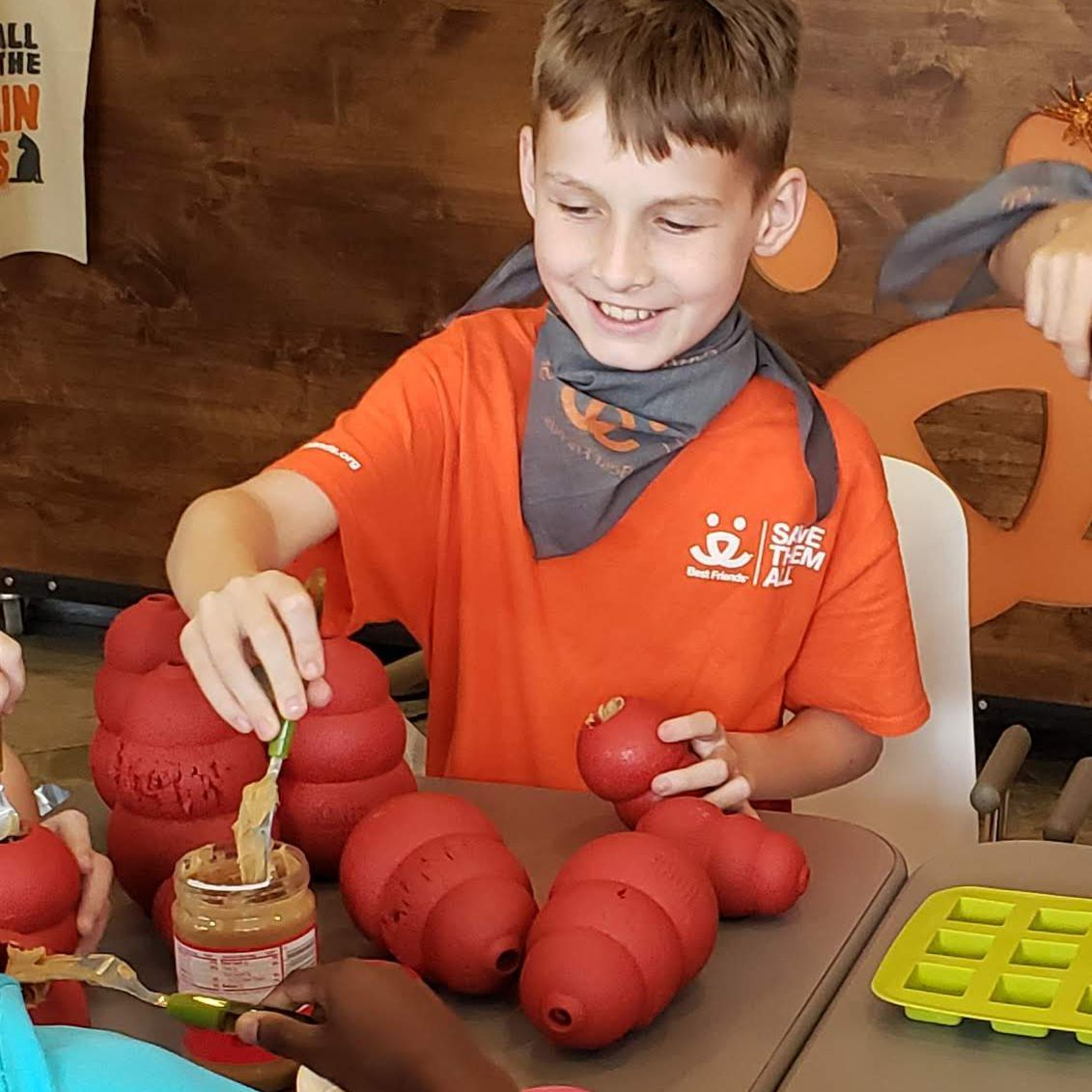Jack fills up Kongs with peanut butter on his birthday.