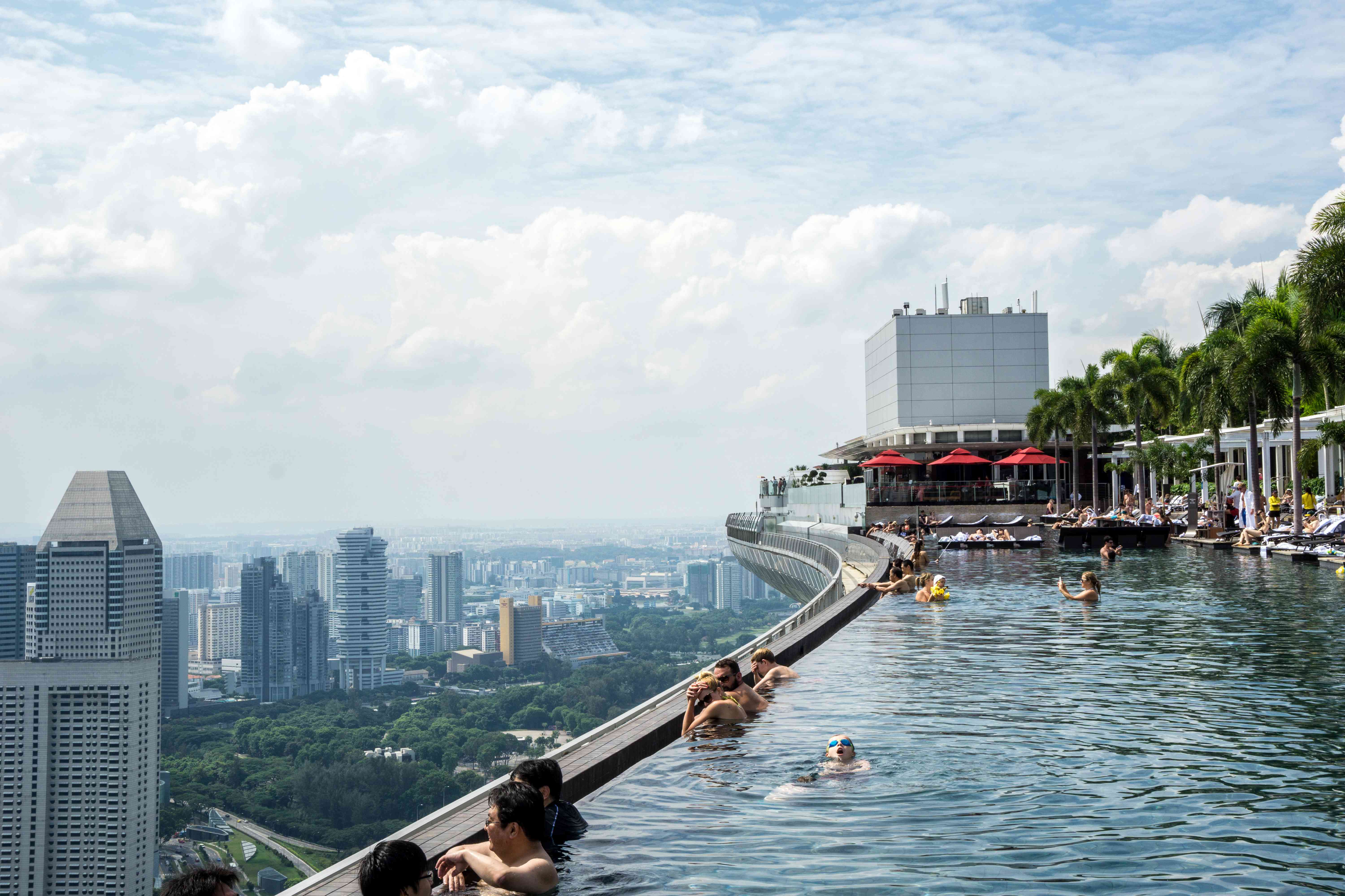 Swimmers take in the view at SkyPark Infinity Pool in Singapore.