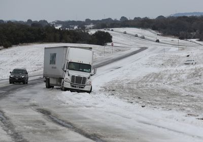 A truck off the road in Texas