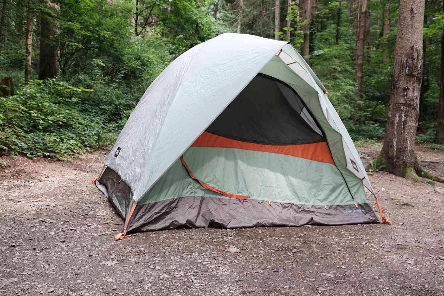 large pop-up camping tent is set up amongst tall trees in campground