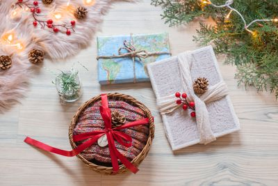 multiple presents wrapped without wrapping paper baskets fabric twine