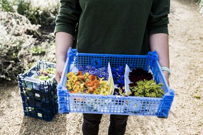farmer holding edible flowers in a blue crate
