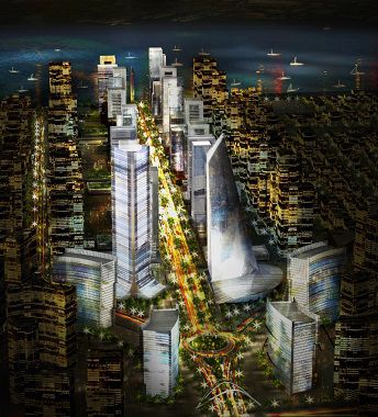 An illustration depicts what Atlantic Eko's skyline will look like at night