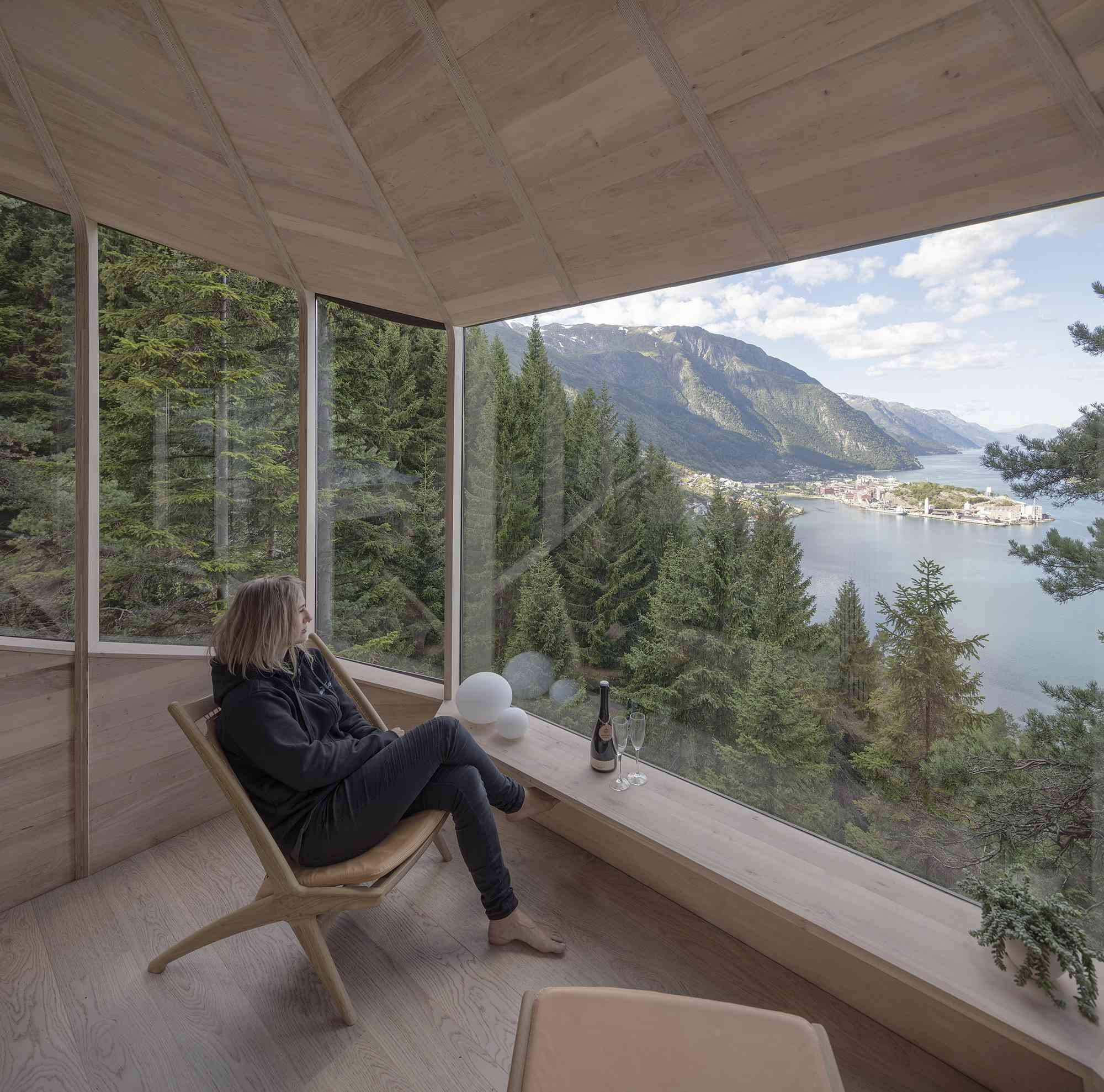 Woodnest treehouse cabin by Helen & Hard Architects view out