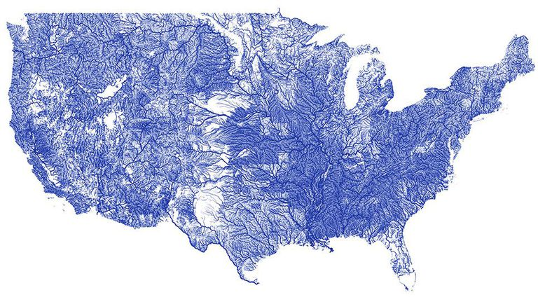 Map of USA rivers