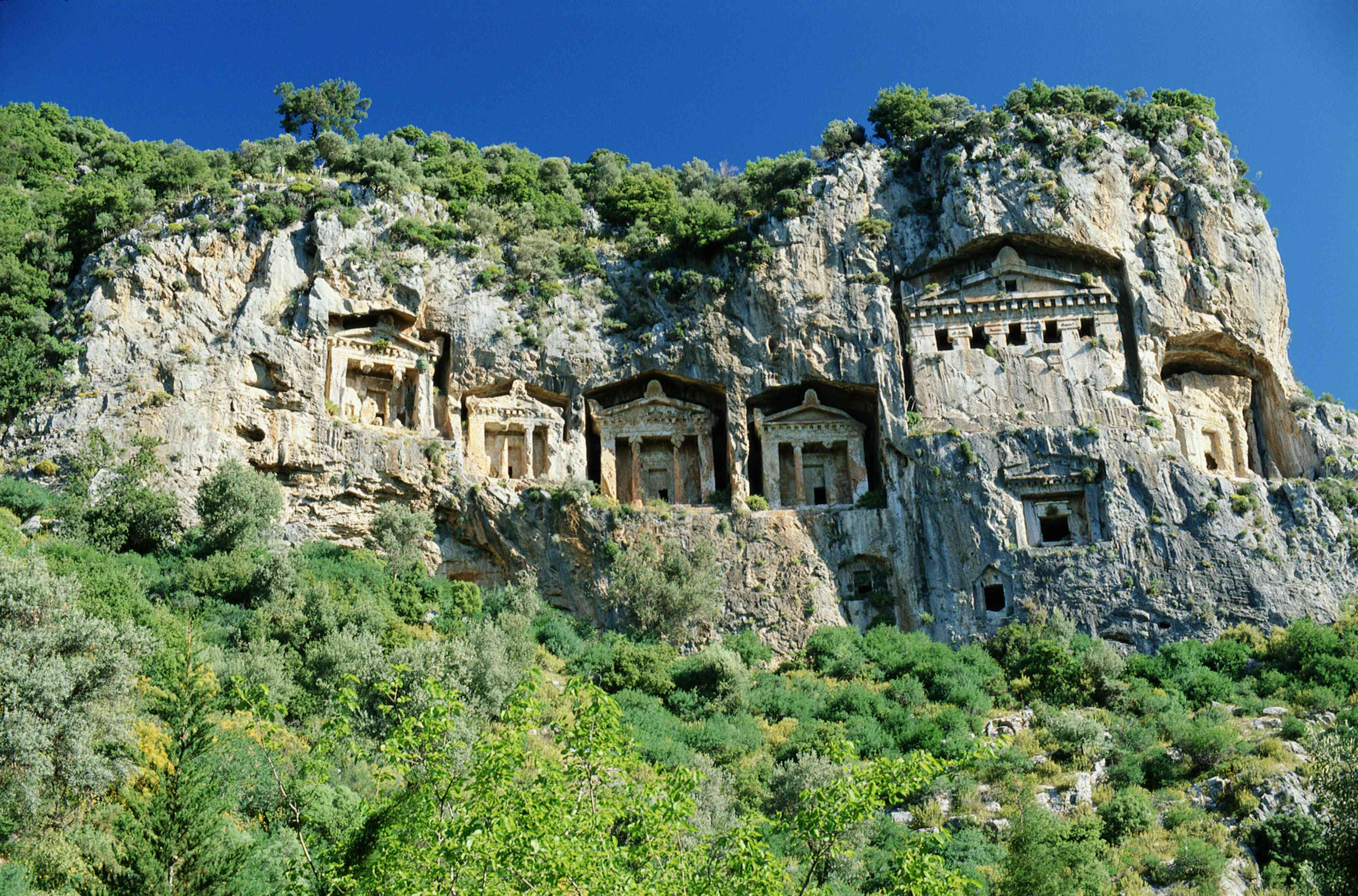 Lycian rock-cut cliff tombs surrounded by lush green plants beneath a vibrant blue sky