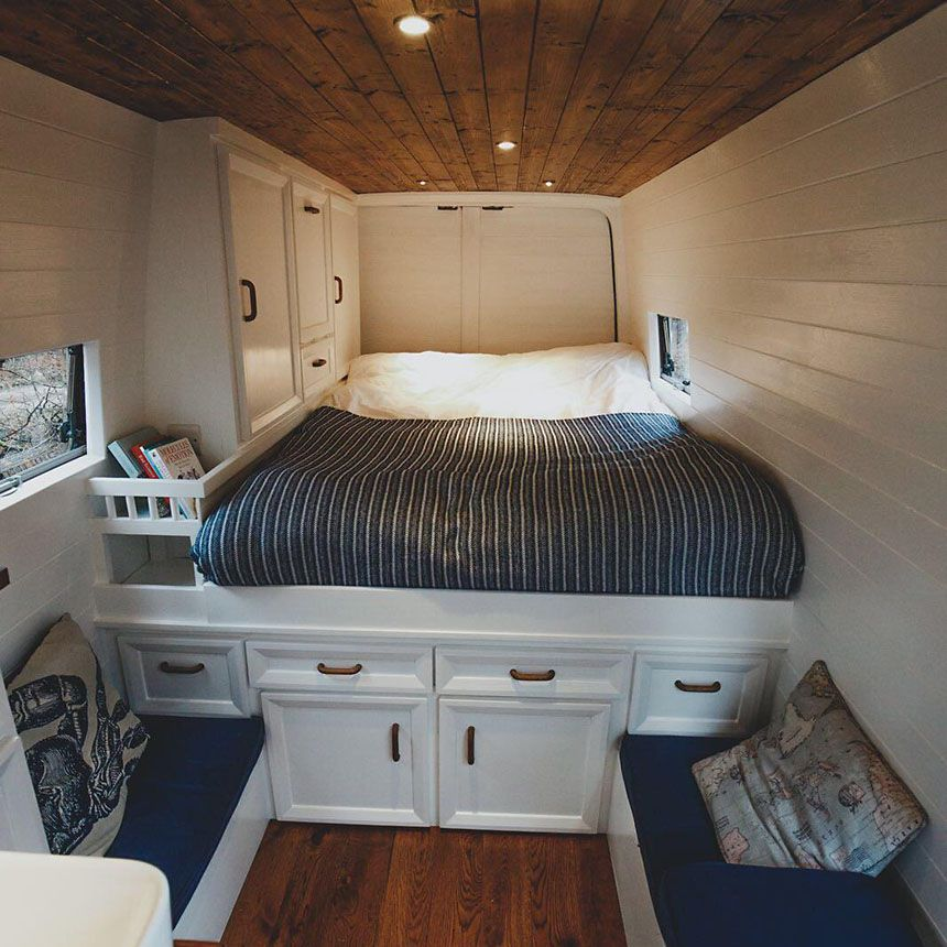 Bed and benches in the van