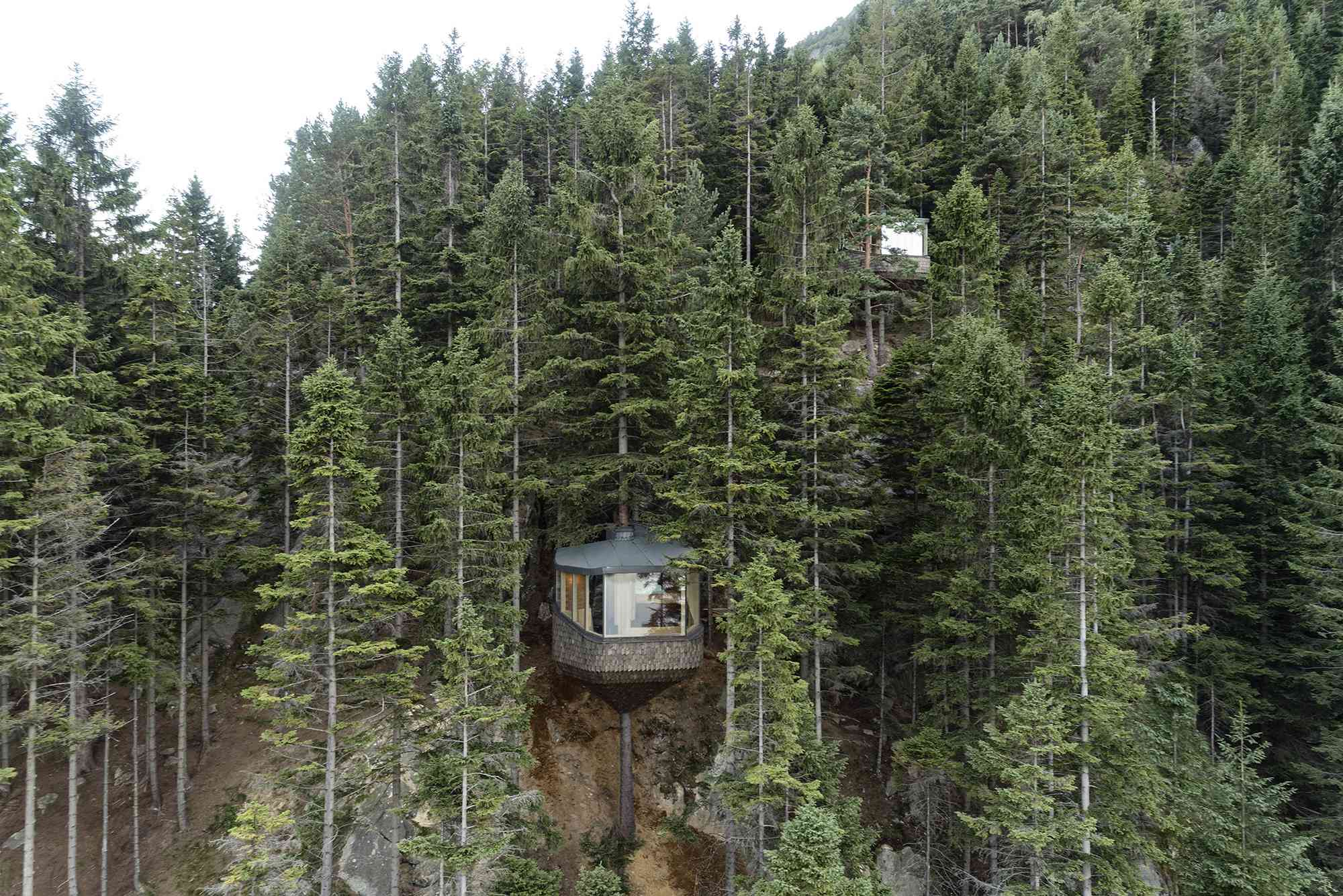 Woodnest treehouse cabin by Helen & Hard Architects view of both cabins