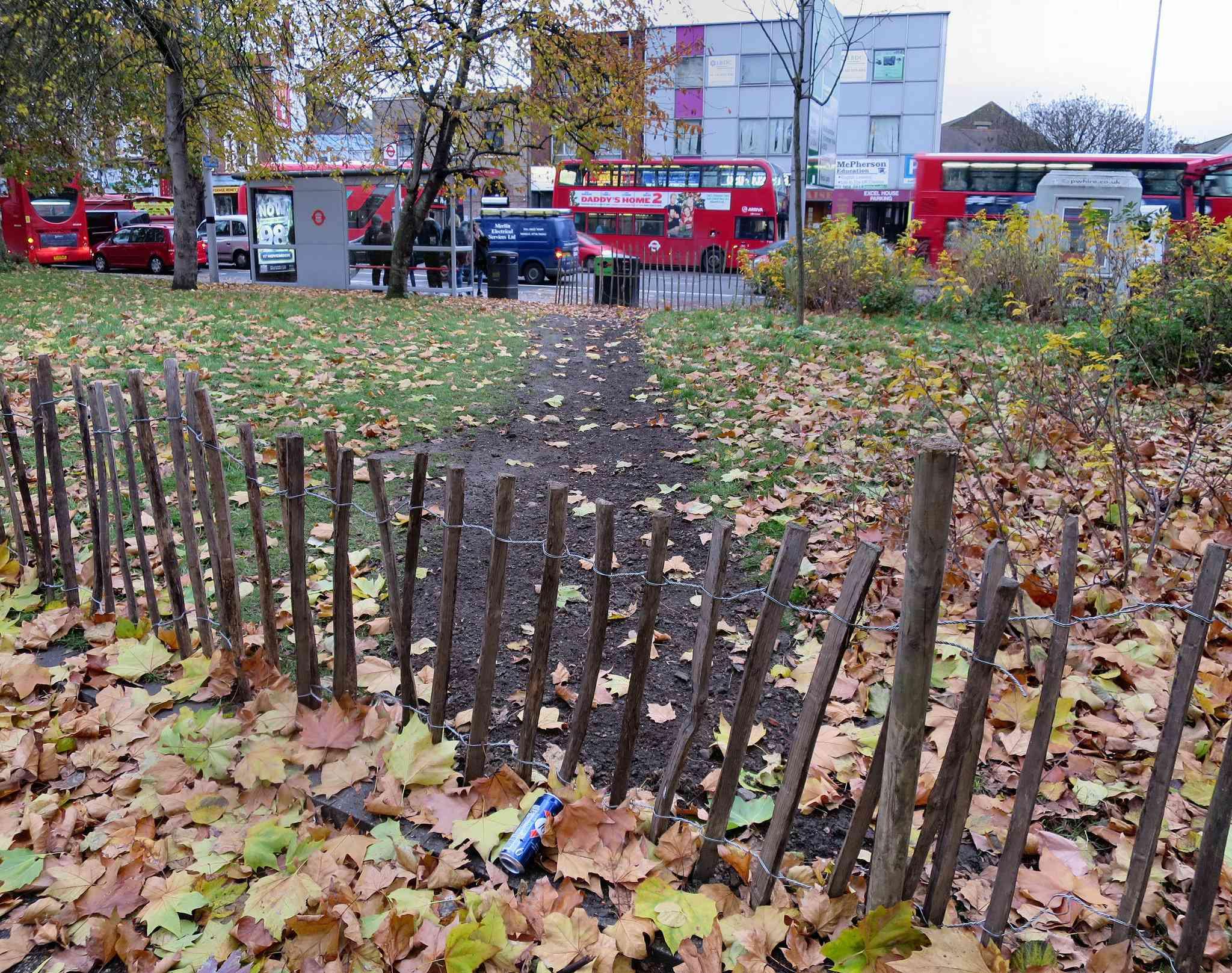 A fenced-off desire path