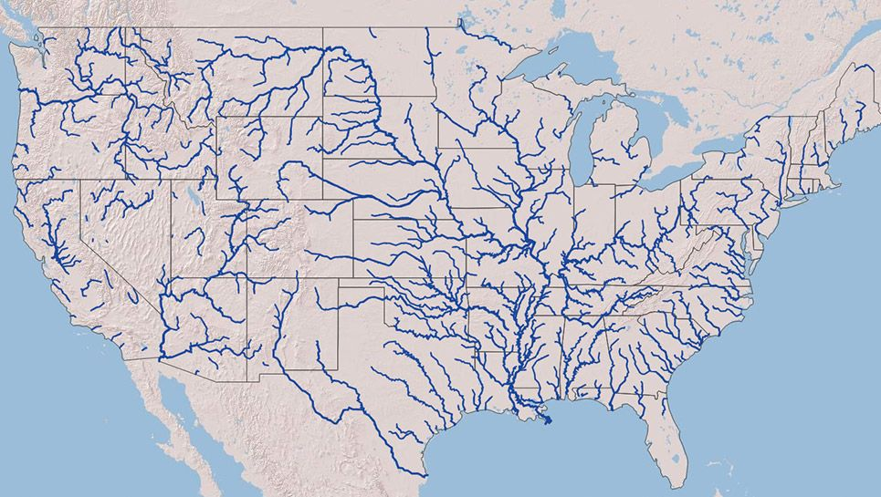 Map Of All Rivers In The Us Every River in the US on One Beautiful Interactive Map