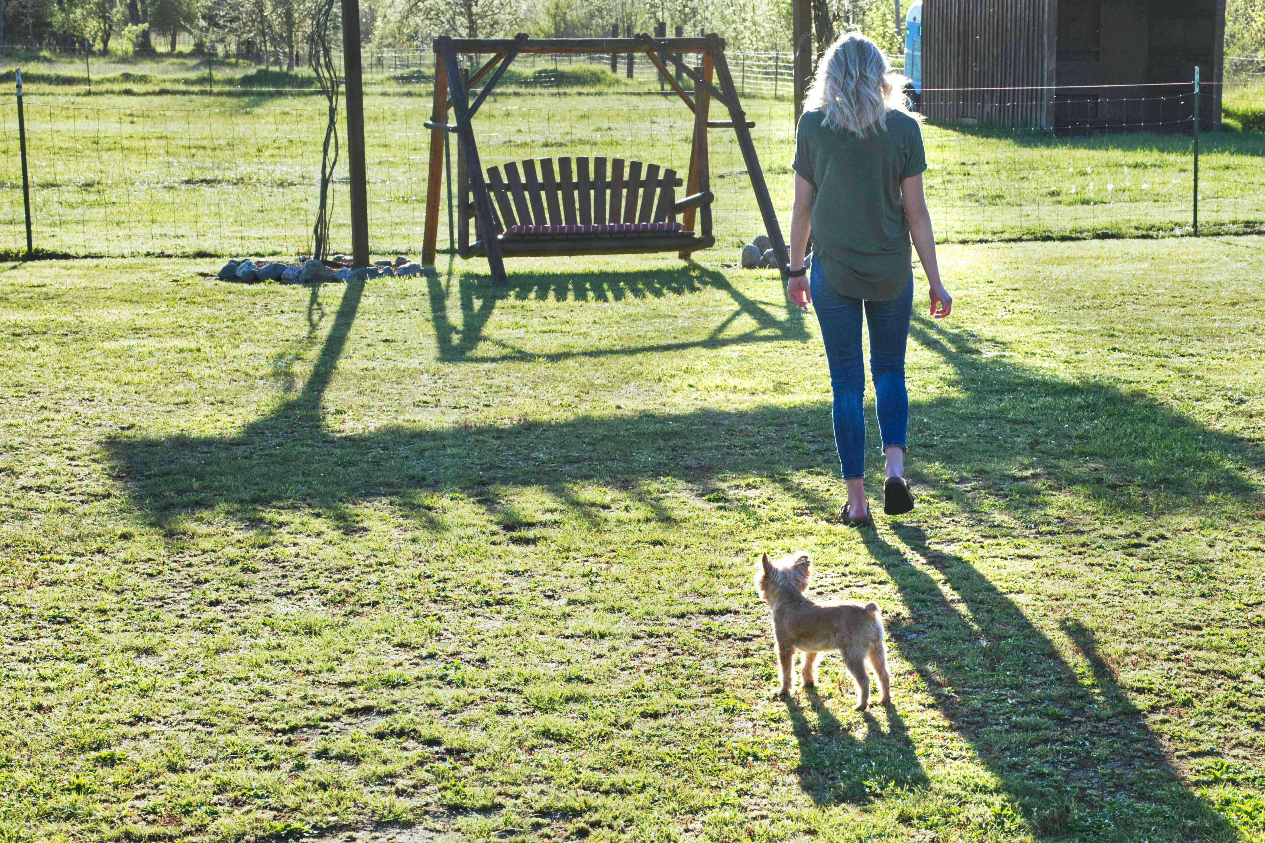 little dog follows woman owner outside to lawn swing in yard