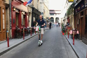 Seen in Paris: People of all ages using e-scooters