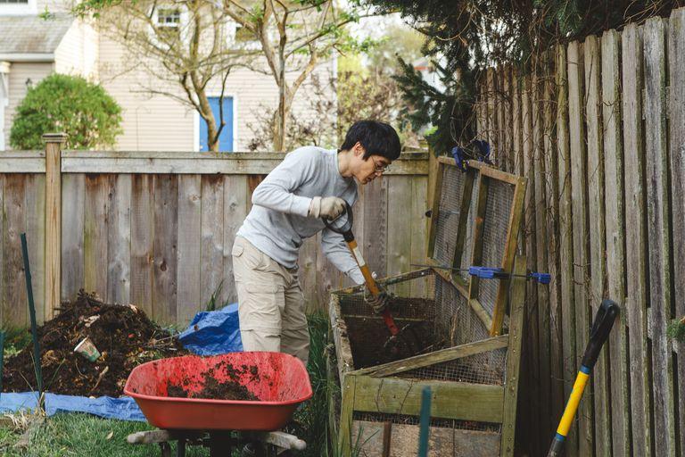 A man uses a pitchfork to shovel compost into a red wheelbarrow