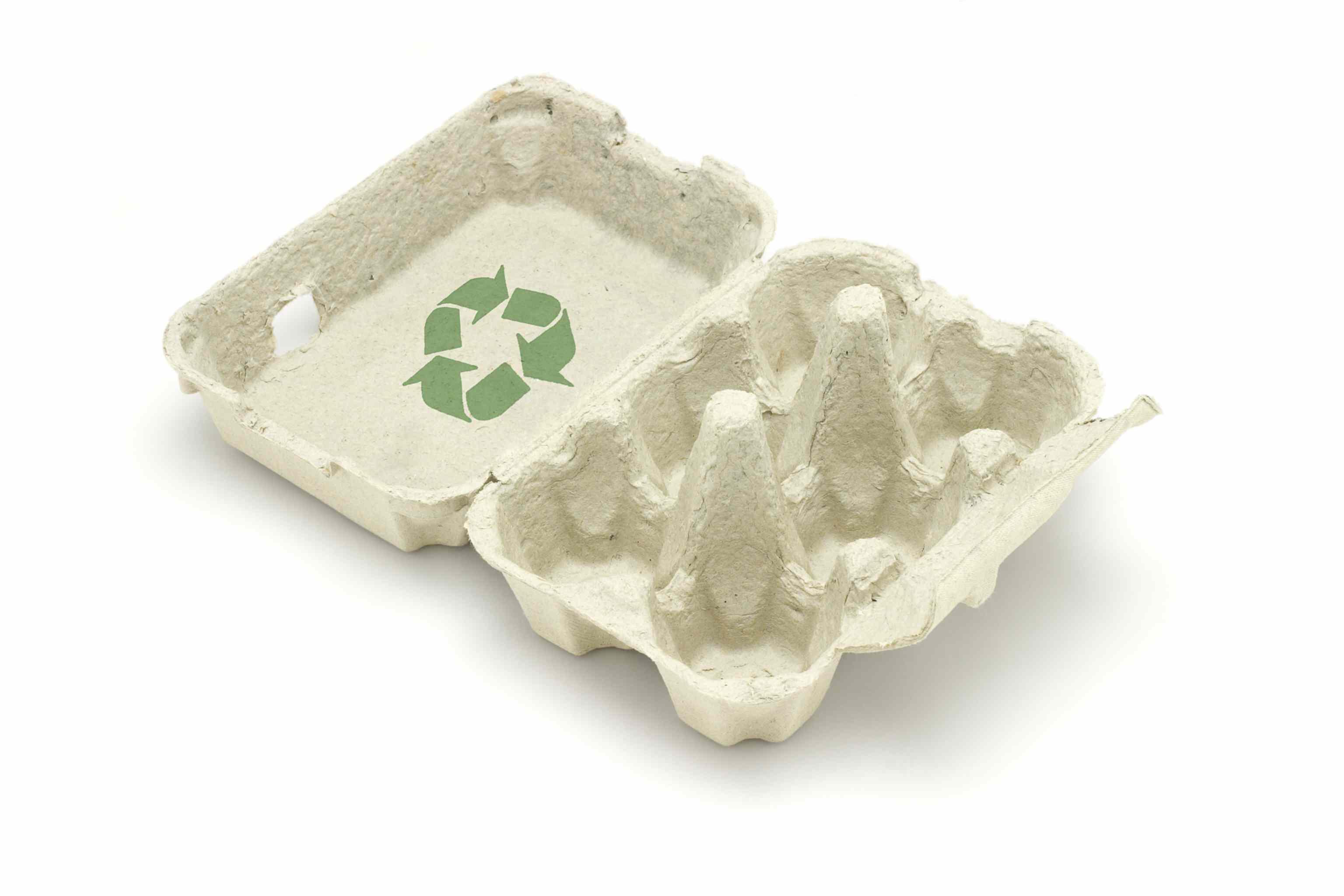 Recycle symbol on egg carton