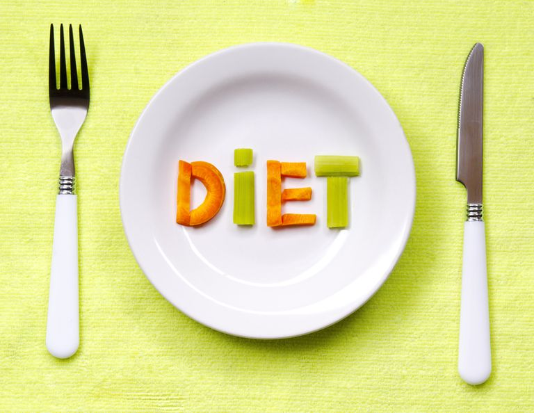 """""""Diet"""" spelled out on a plate with a full place setting"""
