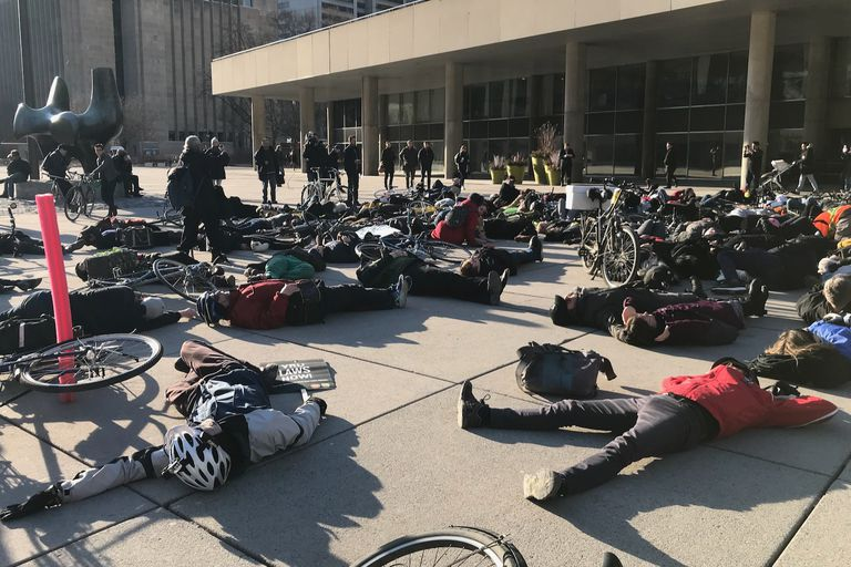 cyclists protesting