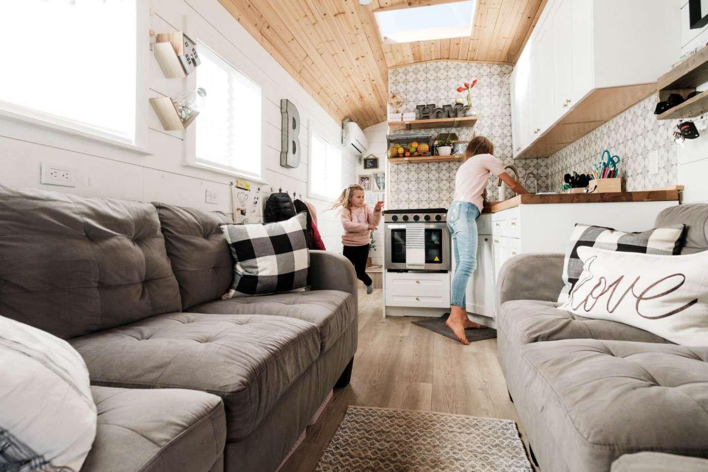 bus conversion living room