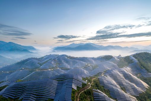 A magnificent solar power station on the top of the misty mountain