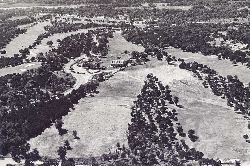 1939 aerial photo of Lions Municipal Golf Course in Austin
