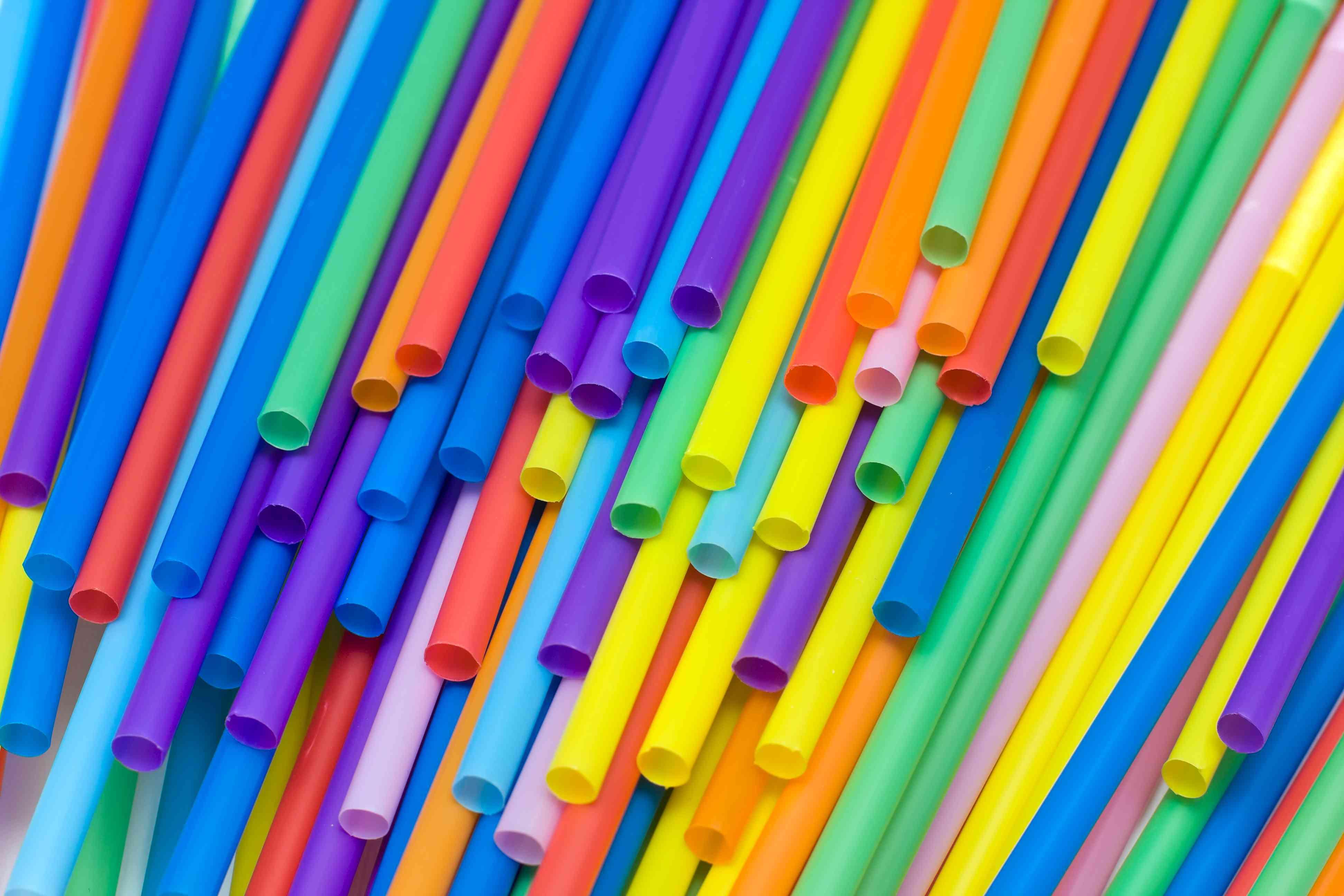 colored plastic drinking straws