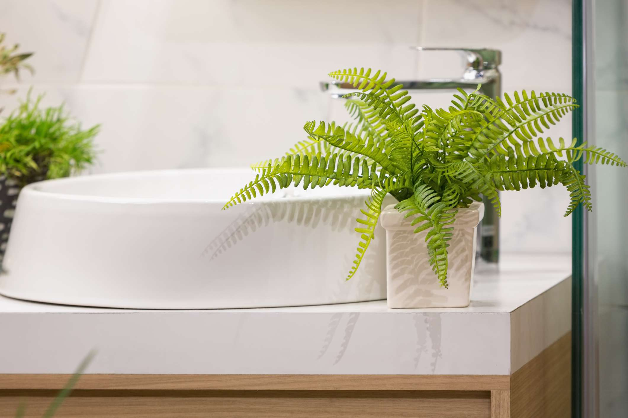 A fern in a square, white pot sits next to a sink