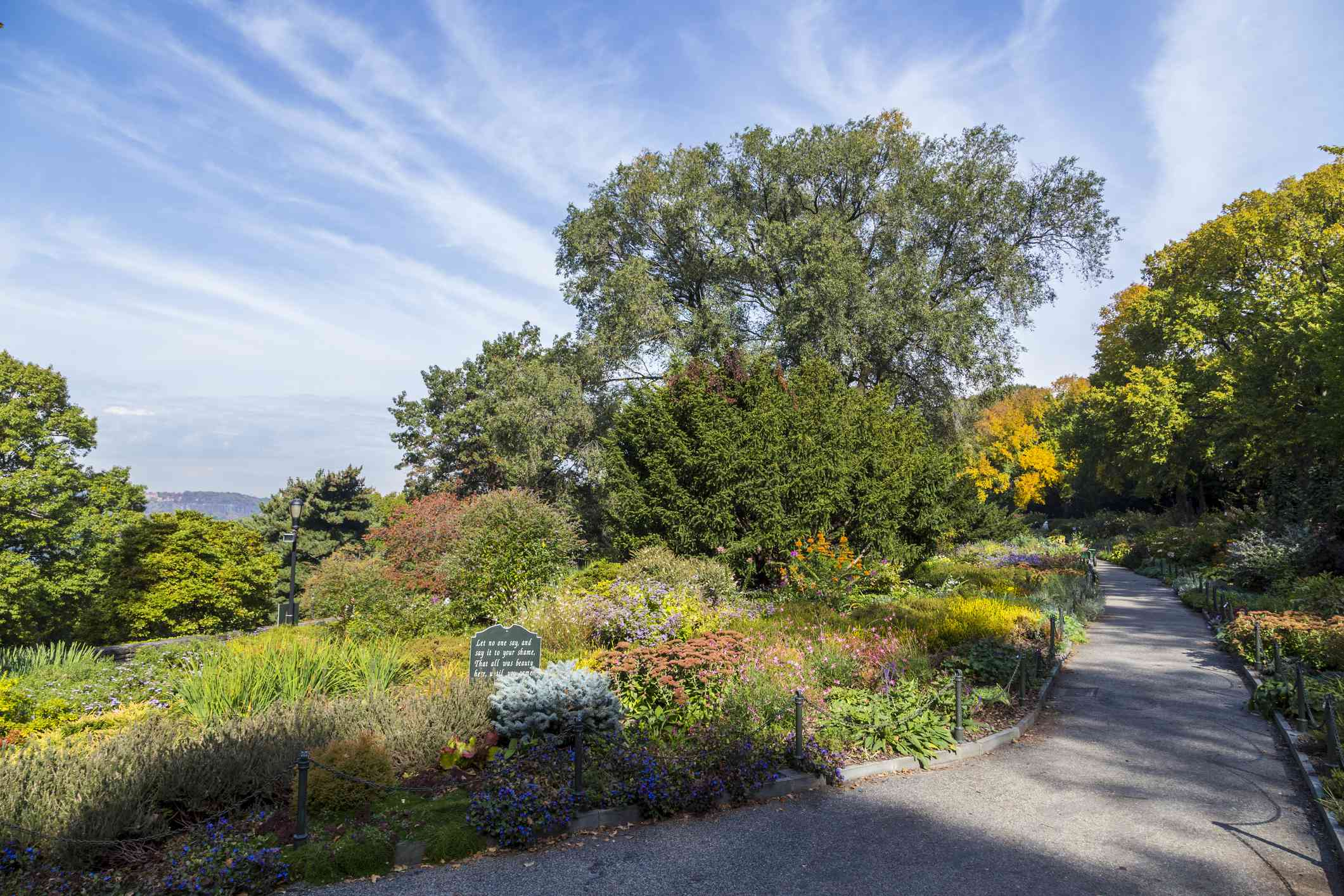 A path through a colorful garden of red, yellow, and green low plants with tall, full green trees in the distance and a blue sky streaked with white clouds