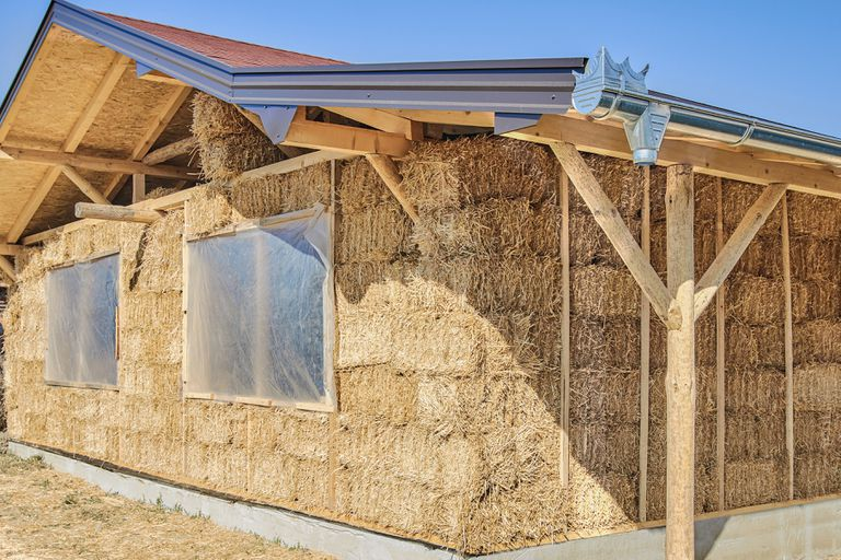 A house made constructed with straw bale insulation.