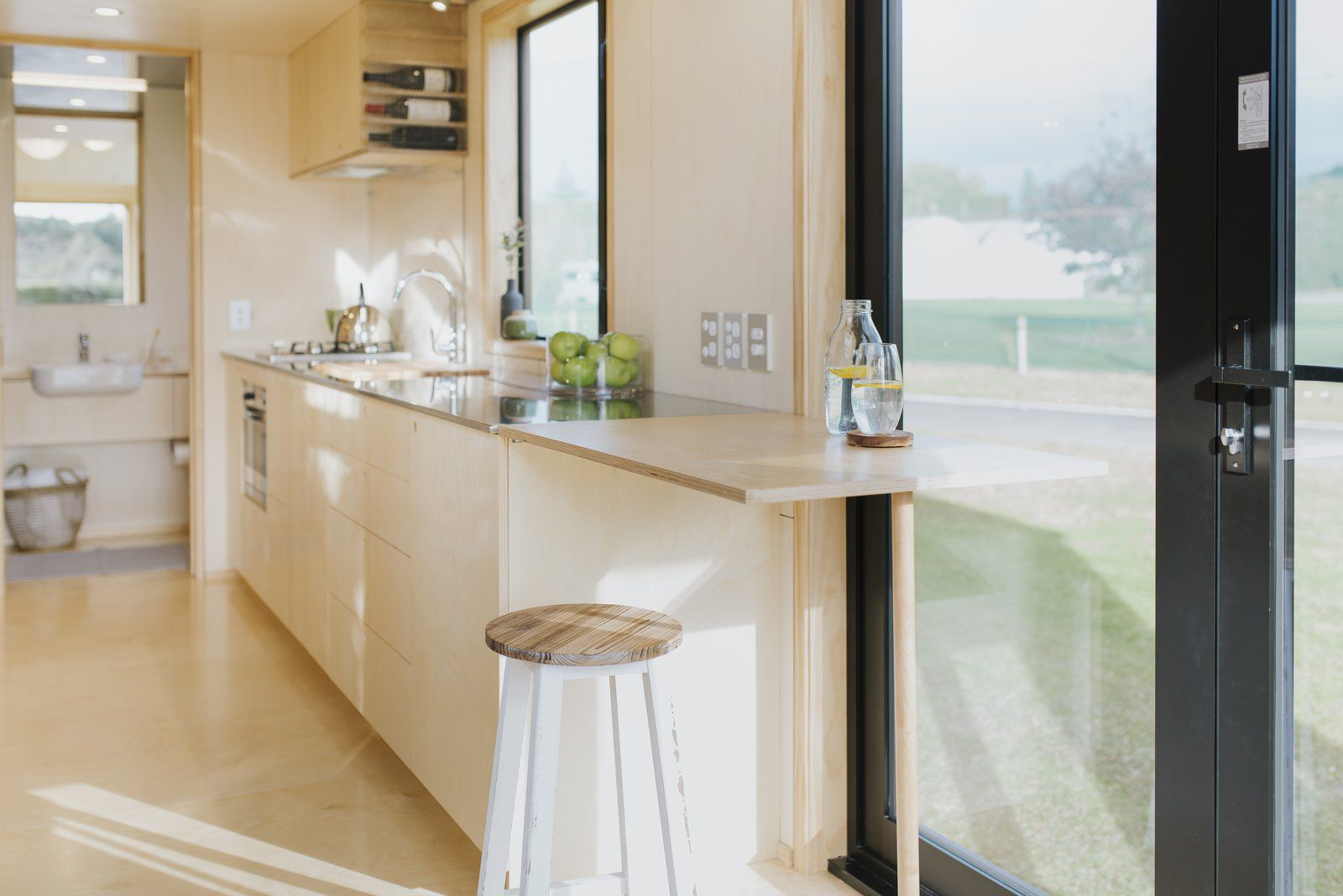 Ohariu tiny house by First Light Studio and Build Tiny dining table extension
