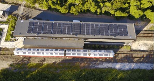 Solar array atop Byron Bay Rail Company storage shed