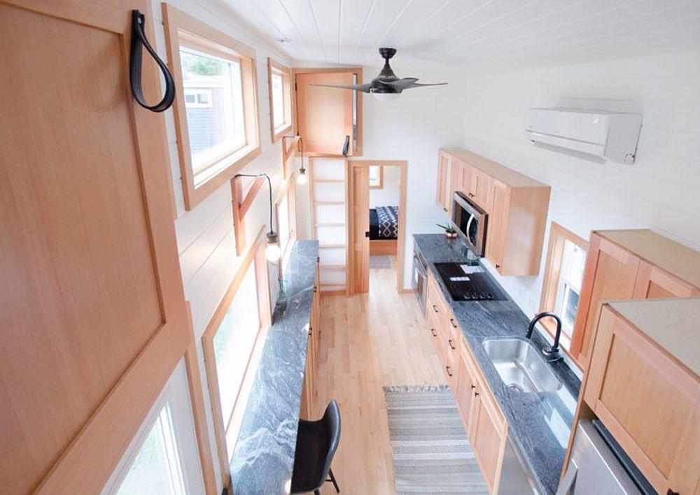 Aerial view of kitchen interior