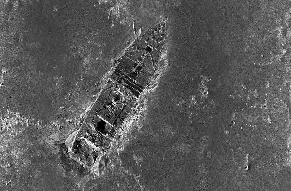 The bow of the Titanic as captured during a sonar mapping expedition in 2012.