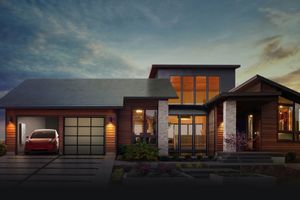 Rendering of a house with a Tesla car parked in the driveway