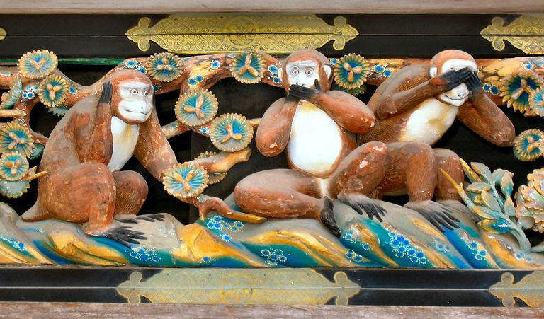 A carving of the three wise monkeys — which embody the proverb 'see no evil, hear no evil, speak no evil' — at Nikko Tosho-gu, a Shinto shrine in Nikko, Japan.