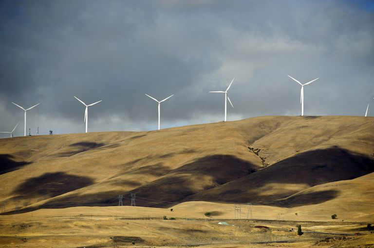 Large group of wind turbines on the hill at Interstate 84 in Oregon, Near Portland, USA